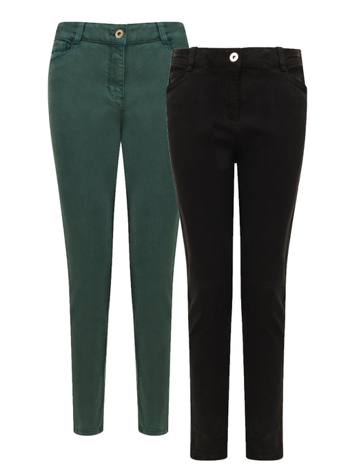 Ex George Skinny Fit Black/Green Jeans Trousers