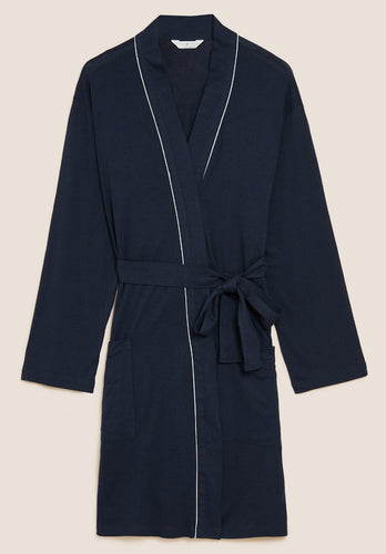 Ex Marks And Spencer Collection Quilted Zip Through Dressing Gown Aqua Pink Blue
