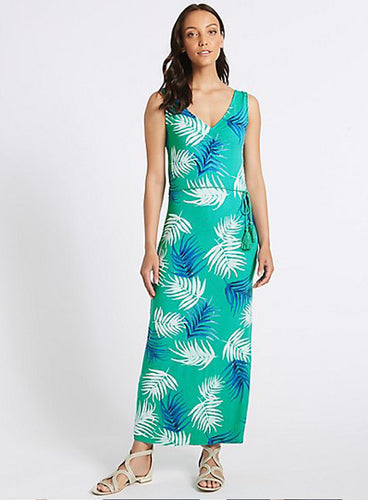 Ex Marks And Spence Collection Green Palm Print Slip Maxi Dress