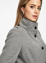 Ex Wallis Petite Grey Funnel Neck Fitted Coat