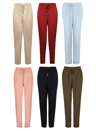 Ladies Tapered Leg Tie Belt Harem Elasticated Waist Pull On Trousers Pants 6 Colour