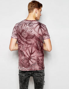 Ex Chainstore Mens Burnout Look Floral T-Shirt Wine Burgundy / Black