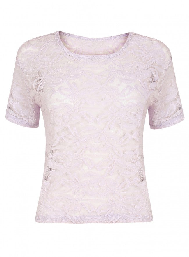 Ex Miss Selfridge Short Sleeve Floral Lilac Lace Top