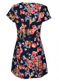 Ladies Floral Print Capped Sleeve Skater Dress Size 8-14