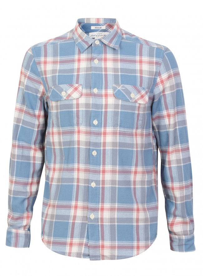 Ex H&M Check Pocket Front Long Sleeve Button Up Shirt
