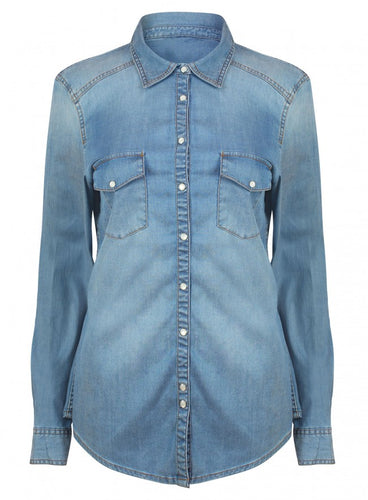 Ex Marks And Spencer Long Sleeve Blue Denim Shirt Blouse