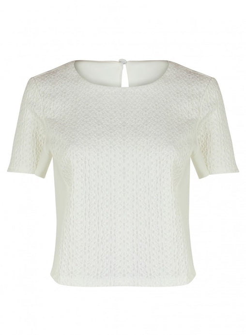 Ex Topshop Short Sleeve Cream Floral Lace Front Top