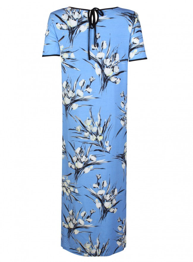 Ex Marks And Spencer Light Blue White Abstract Print Dress