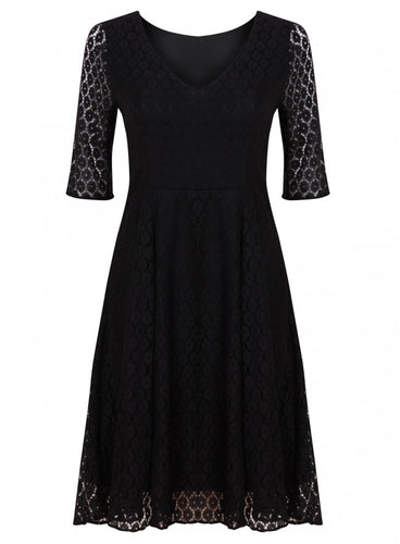 Ex F&F of Tescos Black 3/4 Sleeve V neck Lace Party Cocktail Dress