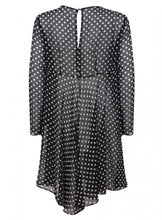 Ladies Black Spot Print Long Sleeve Office Twinset Dress