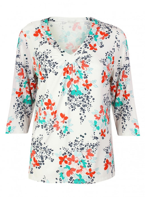 Ex BHS White Long Sleeve Floral Top V Neck Blouse