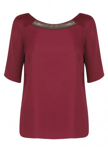 Ex Papaya Plum Short Sleeve Embellished Neck Top Blouse