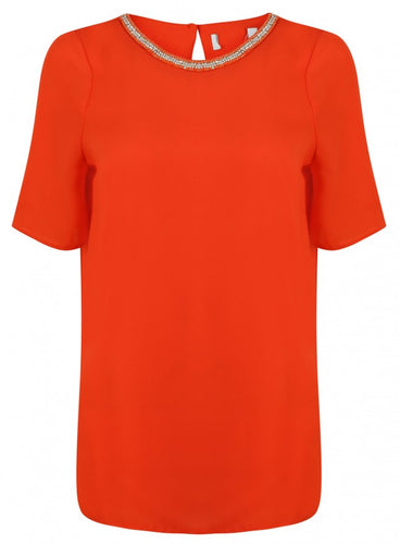 Ex Wallis Short Sleeve Orange Bead Jewel Neckline Blouse