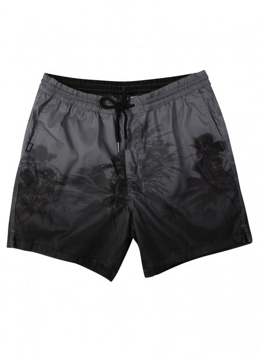Ex H&M Mens Grey Black Palm Tree Print Swim Shorts Mesh Lining Size S-XL