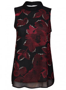 Ex Next Black Embellished Floral Print High Neck Diamanté Top
