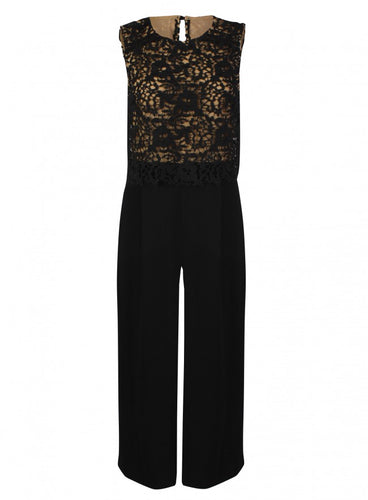 Ex Warehouse Black Gold Sleeveless Lace Wide Cropped Leg Jumpsuit