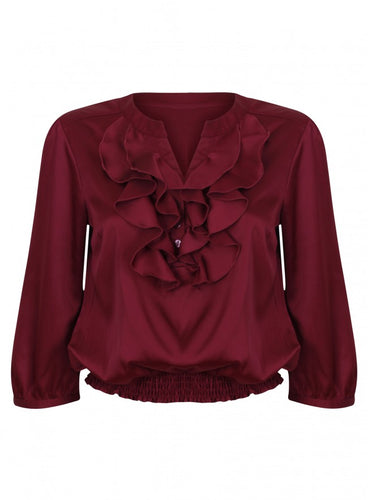 Ex Debenhams Red Herring Silk Red Wine Blouse Shirt