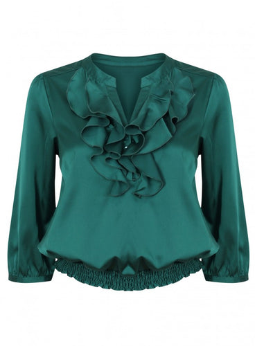 Ex Debenhams Red Herring Silk Green Blouse Shirt