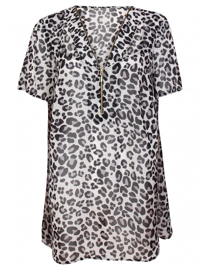 Threads Plus Size Short Sleeve Leopard Print Zip Front Sheer Tunic Blouse