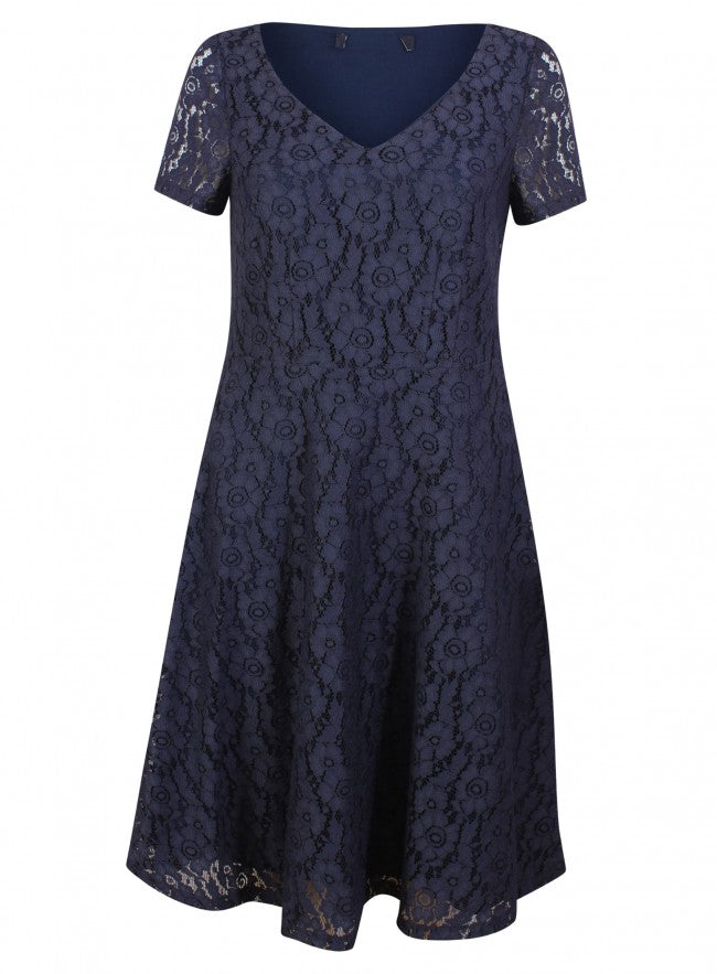 Ex Marks And Spencers Blue Short Sleeve Floral Lace Summer Dress