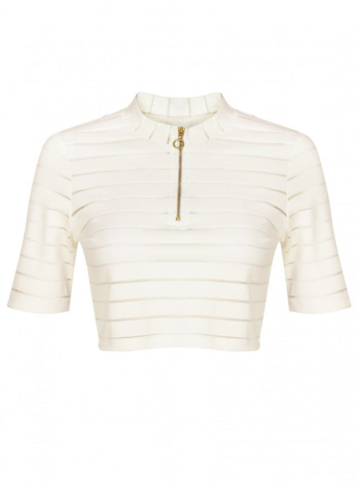 Ex Topshop Ribbed Short Sleeve Zip White Crop Top