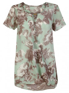 Threads Simply Be Short Sleeve Green Floaty Floral Print Sheer Blouse Top Plus Size
