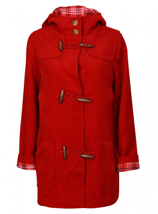 Ex Tommy & Kate Ladies Red Corduroy Duffle Coat Jacket
