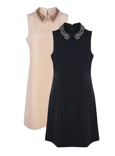 Ex Wallis Sleeveless Jewel Embellished Neckline Dress