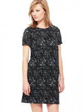 Ex Marks And Spencer Black Floral Jacquard Shift Dress
