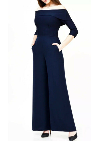 Ex Coast Sara Bardot Trouser Jumpsuit in Navy