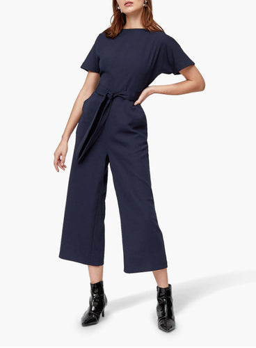 Ex Warehouse Tie Waist Navy Jumpsuit,