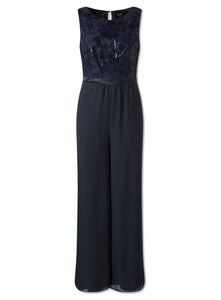 Ex Yessica Navy Blue Sequin Satin Ribbon Trouser Party Jumpsuit