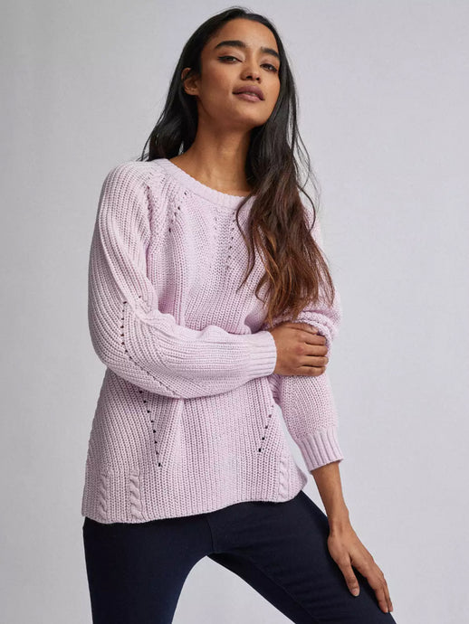 Ex Dorothy Perkins Ribbed Stitch Jumper Lilac & Rose