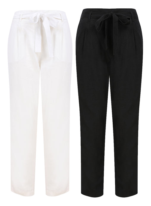 Ladies Linen Blend Tie Belt Straight Leg Trouser