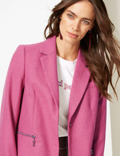Ex Marks And Spencer Pink Wool Blend Single Breasted Coat