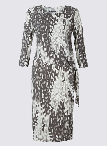 Marks And Spencer Animal Print Drape Waist Bodycon Midi Dress