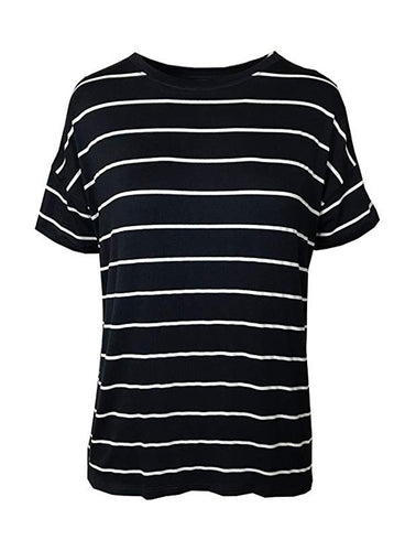 Ex Marks & Spencer Relaxed Fit Nautical Navy & White Striped T-Shirt