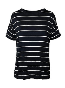 EX MARKS /& SPENCER RELAXED FIT NAUTICAL NAVY /& WHITE STRIPED T-SHIRT TOP EX M/&S