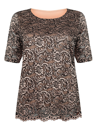 Ex Marks And Spencer Short Sleeve Lace Detail Top