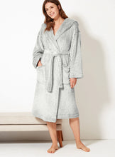 Ex Marks And Spencer Long Pile Hooded Fleece Dressing Gown