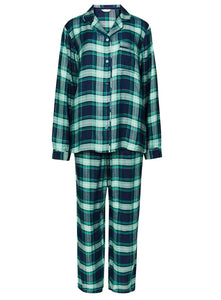 Ex Marks And Spencer Turquoise Green Striped Checked Long Sleeve Pyjamas