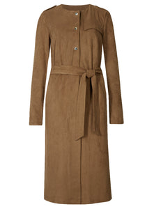 Ex Marks And Spencer Per Una Brown Suedette Trench Coat