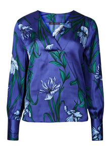 Ex Marks And Spencer Satin Floral Print V-Neck Long Sleeve Blouse