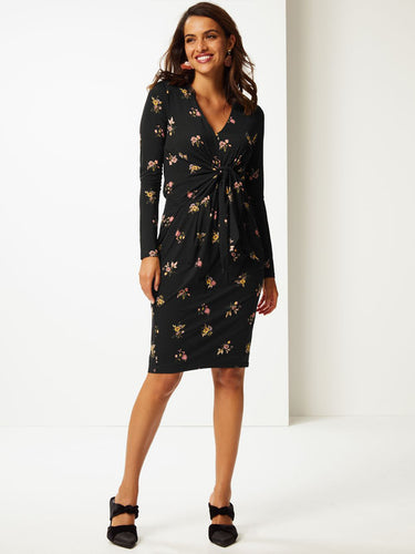 Ex Marks And Spencer Black Floral Print Long Sleeve Bodycon Dress