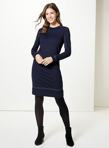 Ex Marks And Spencer Collection Spotted Long Sleeve Shift Dress