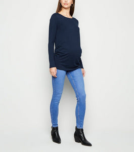 Ex New Look Maternity Over Bump Bright Blue Lift & Shape Jeggings Jeans