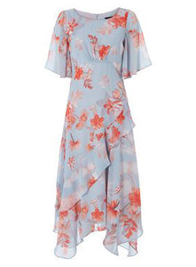 Ex Roman Originals Orange Floral Frill Midi Dress