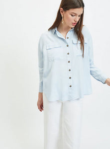 Ex Miss Selfridge Long Sleeve Blue Utility Shirt Blouse