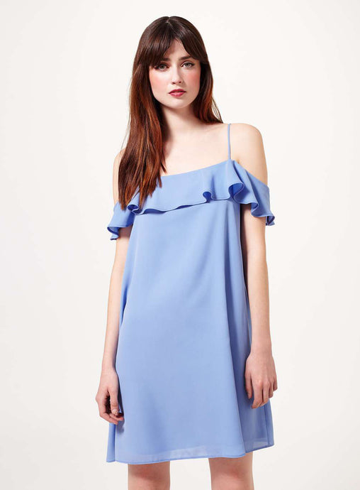 Ex Miss Selfridge Blue Sleeveless Cold Shoulder Frill Shift Dress