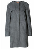 Ex Marks And Spencer Grey Moleskin Faux Suede Military Trench Jacket